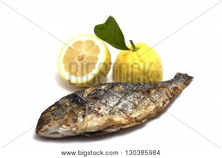 grilled sea bream with lemon heart grilled grilled