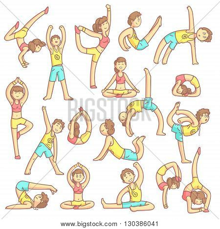 Couple Doing Yoga Poses Set Of Flat Outlined Pale Color Funny Drawings Isolated On White Background