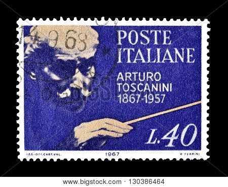 ITALY - CIRCA 1967 : Cancelled postage stamp printed by Italy, that shows Arturo Toscanini.