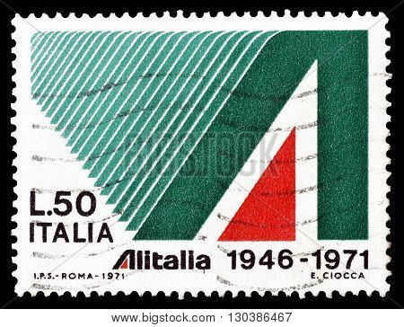 ITALY - CIRCA 1971 : Cancelled postage stamp printed by Italy, that shows Alitalia emblem.
