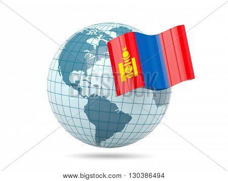 Globe With Flag Of Mongolia
