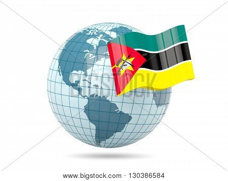 Globe With Flag Of Mozambique