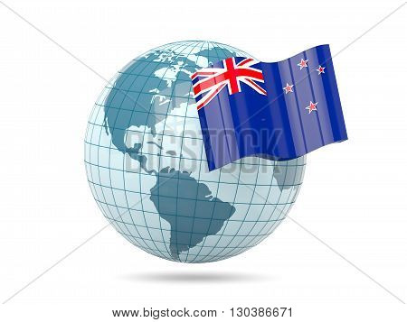 Globe With Flag Of New Zealand