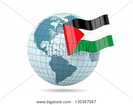 Globe With Flag Of Palestinian Territory