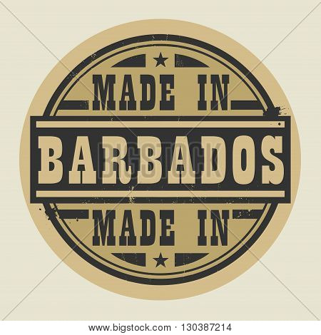 Abstract stamp or label with text Made in Barbados, vector illustration