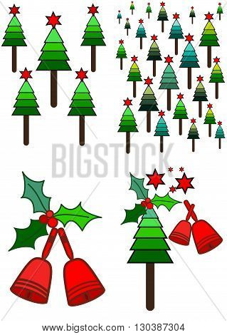 Cristmas picture with trees bells and leaves