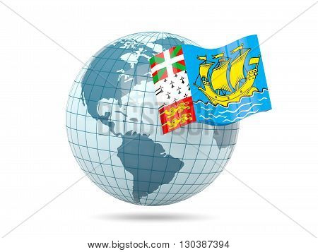 Globe With Flag Of Saint Pierre And Miquelon