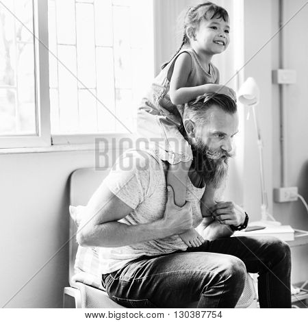 Family Father Daughter Love Parenting Piggyback Togetherness Concept