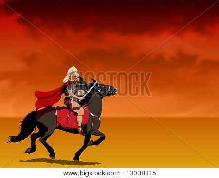 Roman centurion riding Illustration : Bigstock