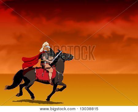 Roman centurion riding Illustration : Bigstock