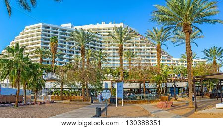 EILAT ISRAEL - FEBRUARY 23 2016: The best city hotels located on the first line and boasts shady green gardens and cozy lounge zones on February 23 in Eilat.