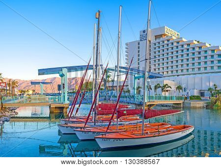 EILAT ISRAEL - FEBRUARY 23 2016: The Marina is the best place to choose yacht for hire or boat for fishing tour on February 23 in Eilat.