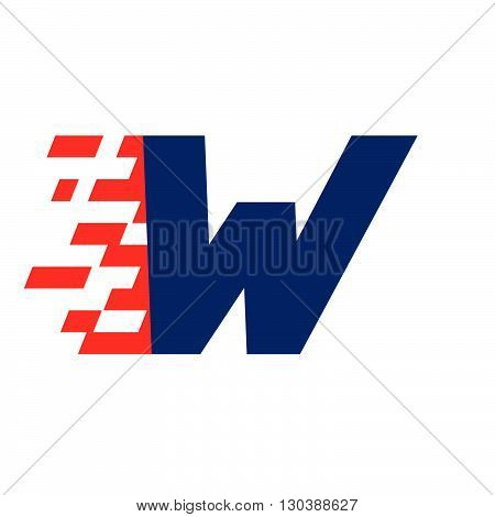 W Letter With Abstract Checkered Flag