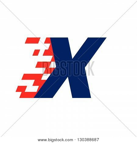 X Letter With Abstract Checkered Flag