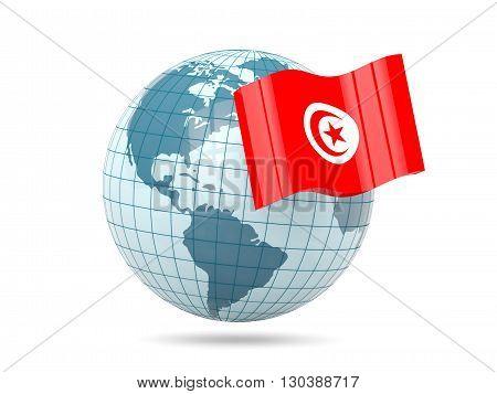 Globe With Flag Of Tunisia