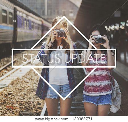 Status Update Interaction Network Photo Concept