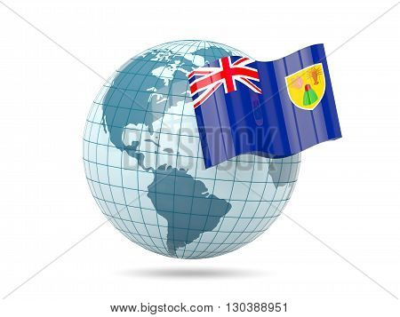 Globe With Flag Of Turks And Caicos Islands