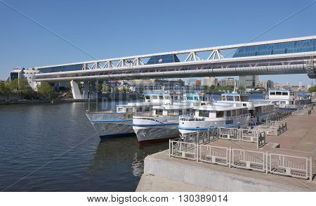 MOSCOW, RUSSIA - MAY 13, 2016: View of the pier bridge