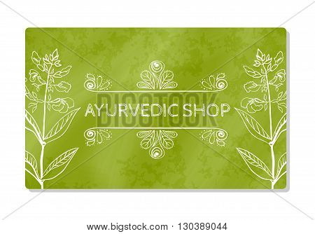 Business card showcase or Ayurvedic shop. Vector illustration
