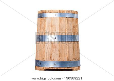 vintage old oak barrel isolated on white background