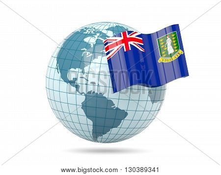 Globe With Flag Of Virgin Islands British