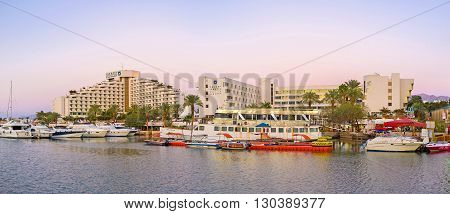 EILAT ISRAEL - FEBRUARY 23 2016: The best hotels of resort located adjacent to the yacht port on February 23 in Eilat.