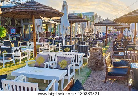 EILAT ISRAEL - FEBRUARY 24 2016: The beach restaurant is the best place to relax after the swimming on February 24 in Eilat.