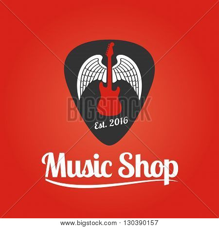 Music store vector logo. Template for music shop. Guitar and pick illustration grunge style