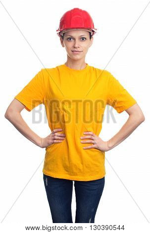 Woman In A Protective Helmet And Yellow T-shirt. Isolated