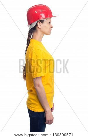 Profile Woman With Construction Helmet. Isolated