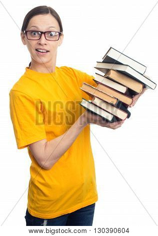 Surprised Student Girl Holding A Stack Of Books.