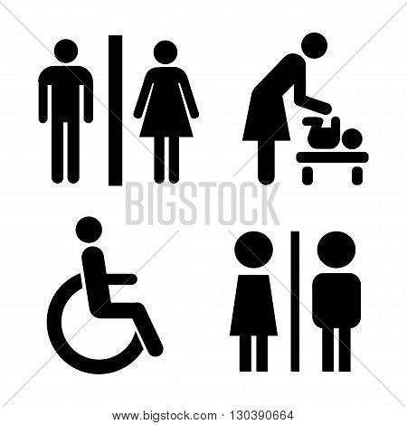 Set of black icons restroom. Vector illustration.
