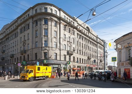 MOSCOW - MARCH 29: House of Moscow Merchant Society on Solyanka Street on March 29 2016 in Moscow. This house is the object of cultural heritage of Russia.