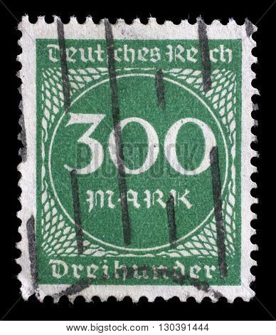 ZAGREB, CROATIA - JUNE 22: A postage stamp printed in Germany shows numeric value, circa 1923, on June 22, 2014, Zagreb, Croatia