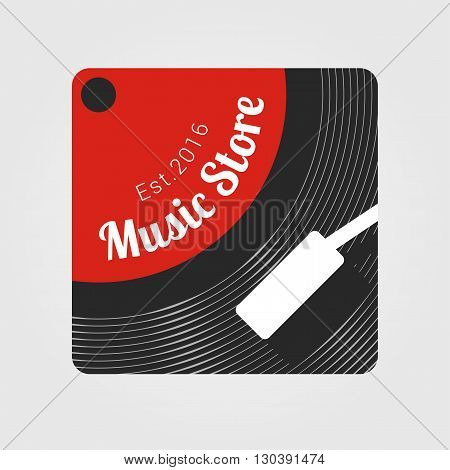 Music store vector logo. Template for music shop. Vinyl record