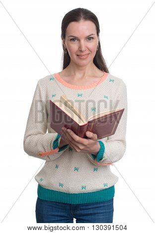 Beautiful Woman With Book Isolated On A White