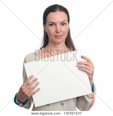 Smiling Beautiful Woman Holding Blank White Banner