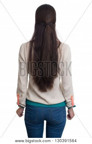 Woman With Long Hair Standing Back. Isolated