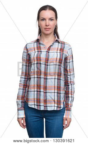 Woman In Jeans And Checked Shirt