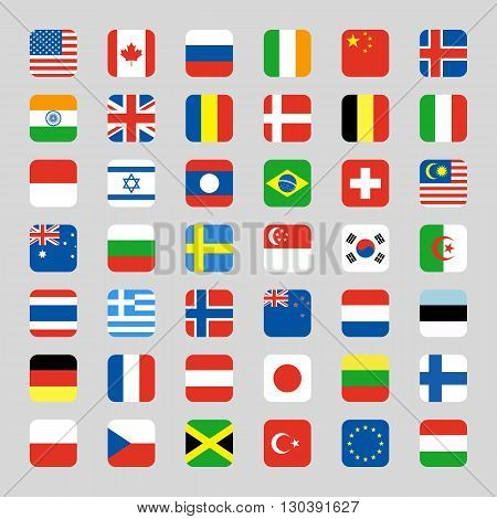 Collection of flag icon on white background vector illustration
