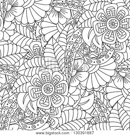 Black and white floral seamless background. Design for adults and older children coloring book. Textile wrapper cover