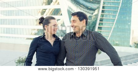 Two People Look At Each Other In The City