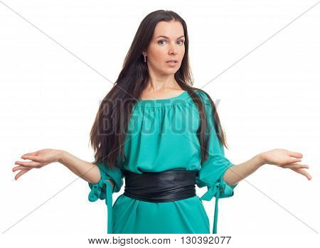 Young Beautiful Woman Shrugging Shoulders