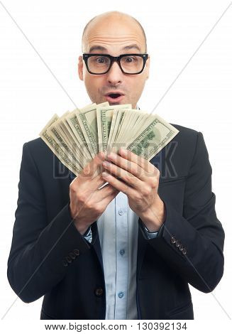 Surprised Bald Man Holding A Lot Of Money
