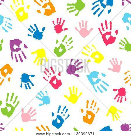 Seamless background made from color handprints. Multicolor pattern for your design.