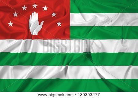 Waving Flag of Abkhazia, with beautiful satin background