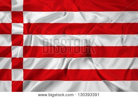 Waving Flag of Bremen, with beautiful satin background