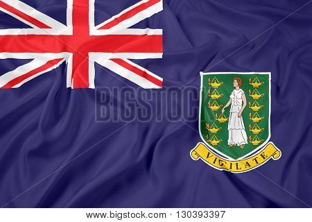 Waving Flag of British Virgin Islands, with beautiful satin background
