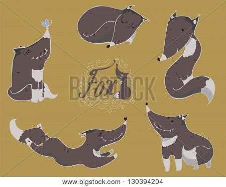 Colorful set of hand drawn cute black or grey foxes in different poses sleeping sitting jumping standing. Vector illustration with lettering and imperfections good for character design or mascot.