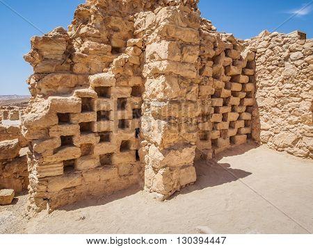 Masada fortress in Israel, ruins of ancient columbarium for raising pigeons